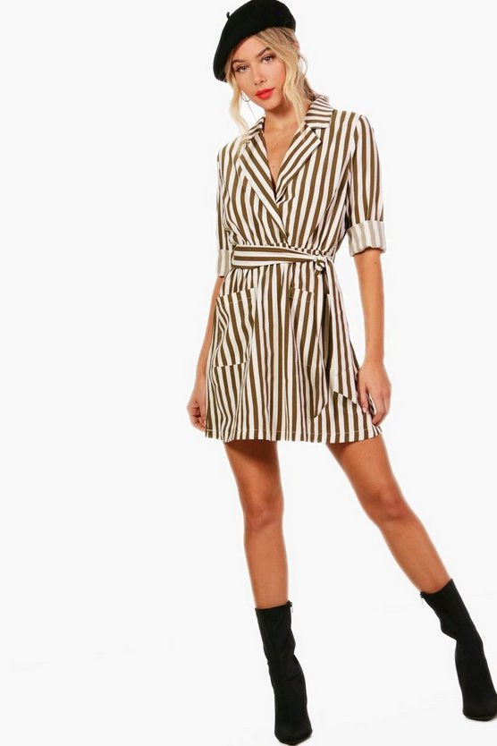 Stripe Wrap Front Shirt Dress