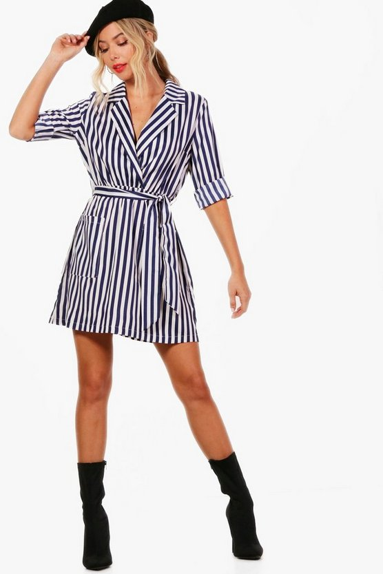 Larissa Stripe Wrap Front Midi Shirt Dress