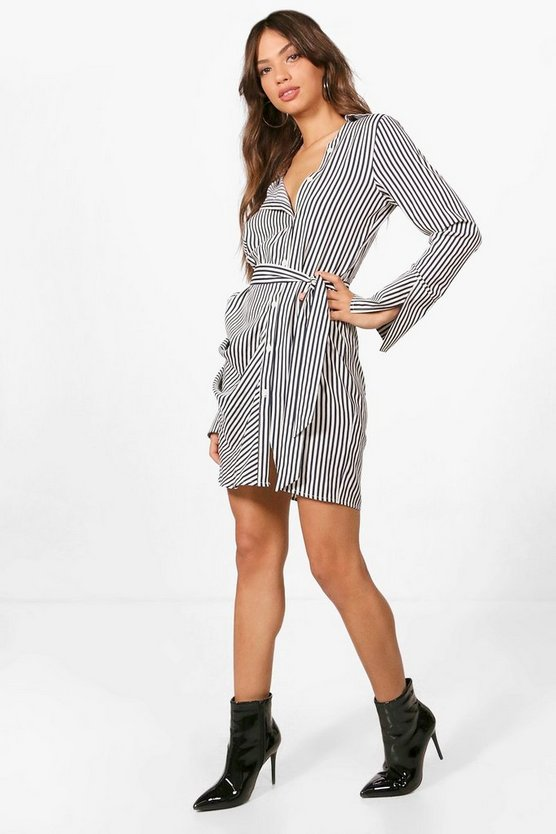 Belted Asymmetric Collar Shirt Dress