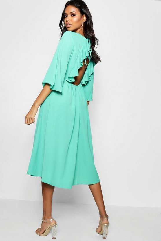 Liz Open Ruffle Back Flute Sleeve Midi Dress
