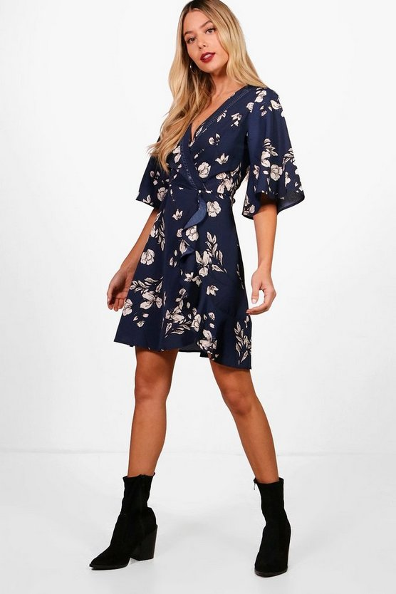 Rory Ladder Trim Flute Sleeve Floral Tea Dress