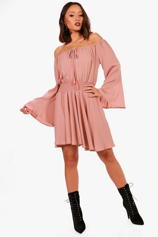 Dixie Flute Sleeve Shired Waist Skater Dress