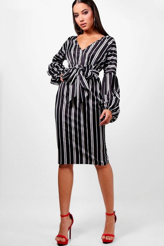 Gathered Sleeve Stripe Midi Dress