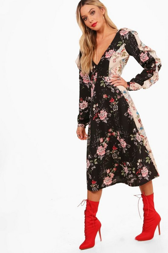 Ruffle Sleeve Mix Print Midi Dress