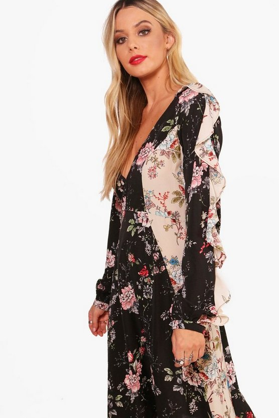 Ruffle Sleeve Mix Print Midi Dress by Boohoo