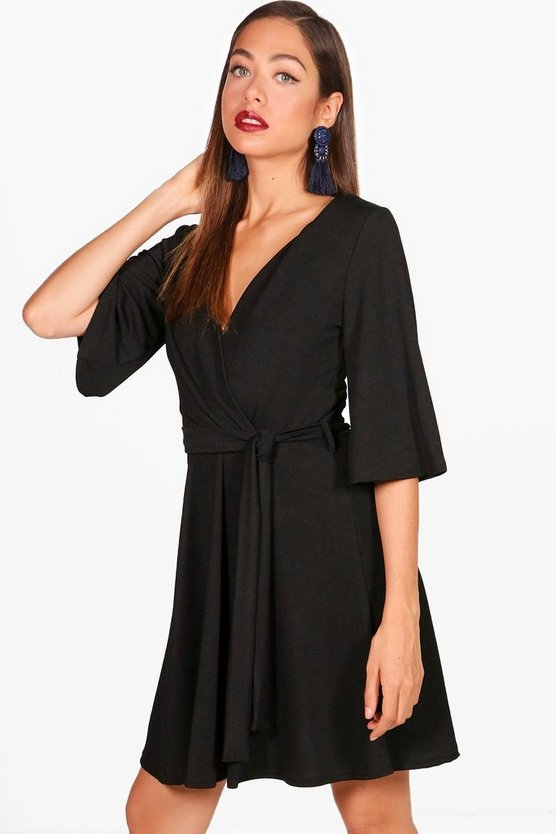Wrap Over Belted Skater Dress