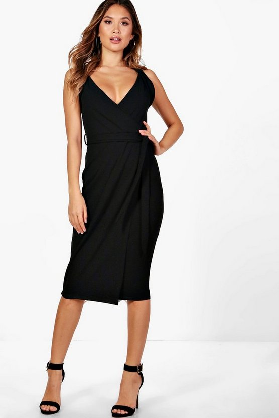 Alexandra Belted Wrap Detail Midi Dress