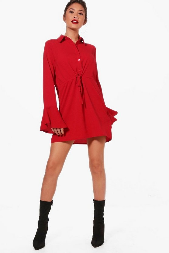 Drawcord Waist Fluted Sleeve Shirt Dress
