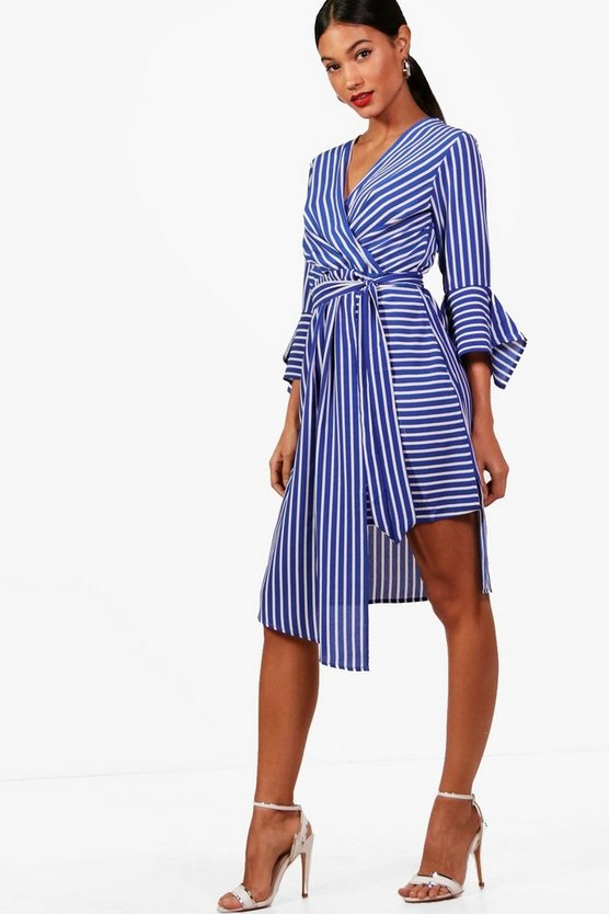 Iz Wrap Front Contrast Stripe Midi Dress