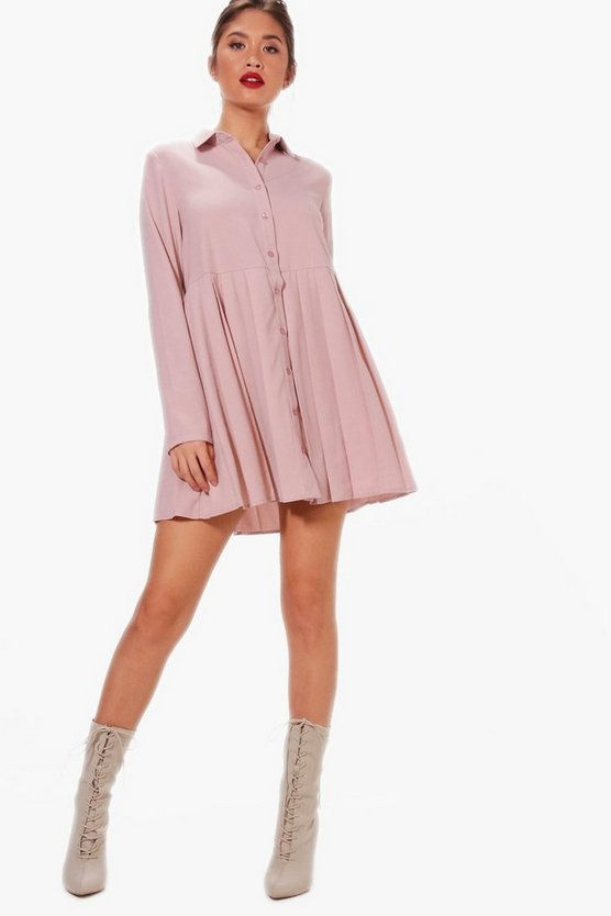 Pleated Woven Shirt Dress