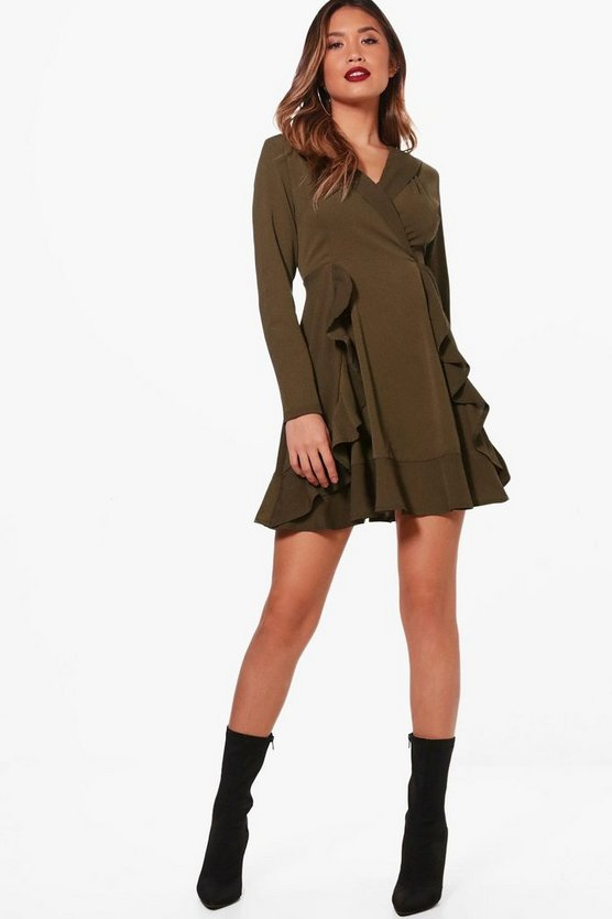 Ruffle Front Collared Shirt Dress