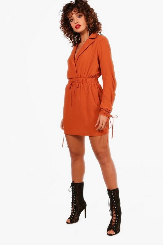 Abby Drawcord Sleeve Woven Shirt Dress