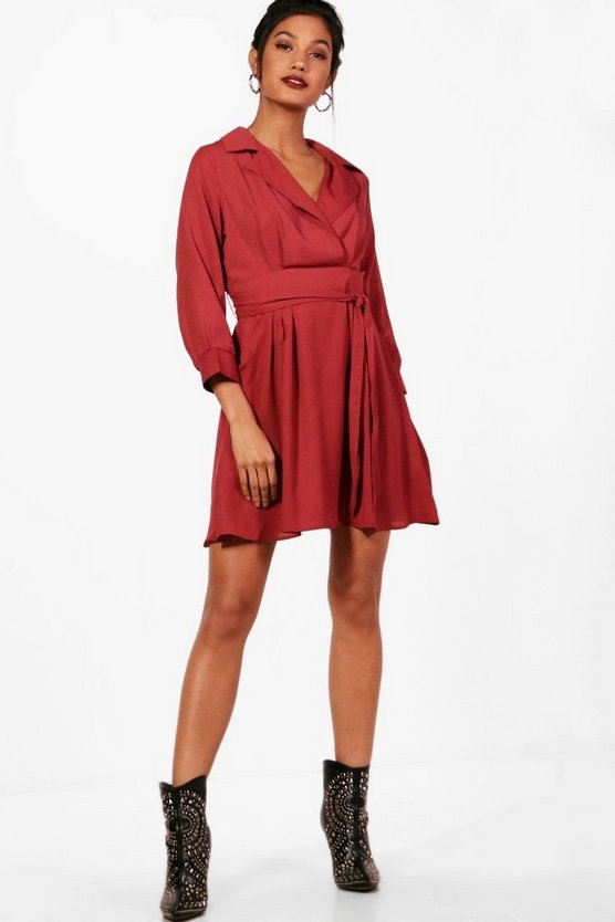 Val Wrap Front Tie Waist Skater Shirt Dress