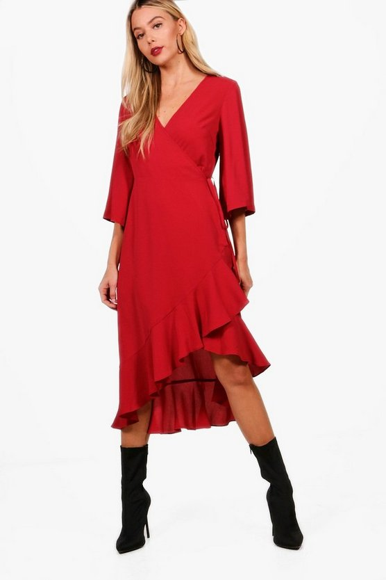 Fluted Sleeve Ruffle Hem Wrap Tea Dress