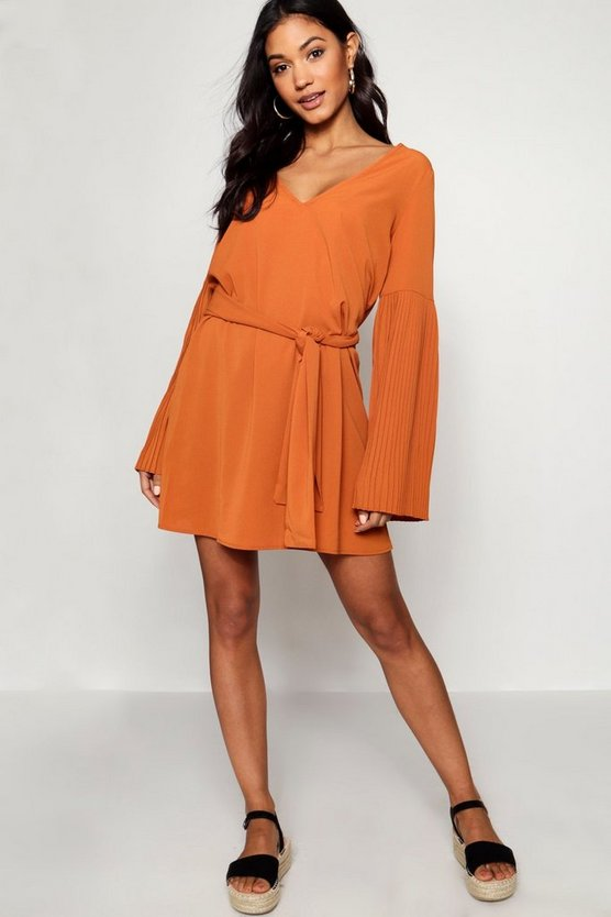 Pleated Sleeve Neck Tie Shift Dress