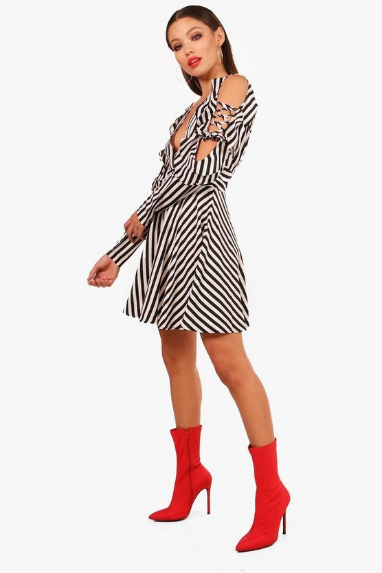 Striped Ruffle Shoulder Skater Dress