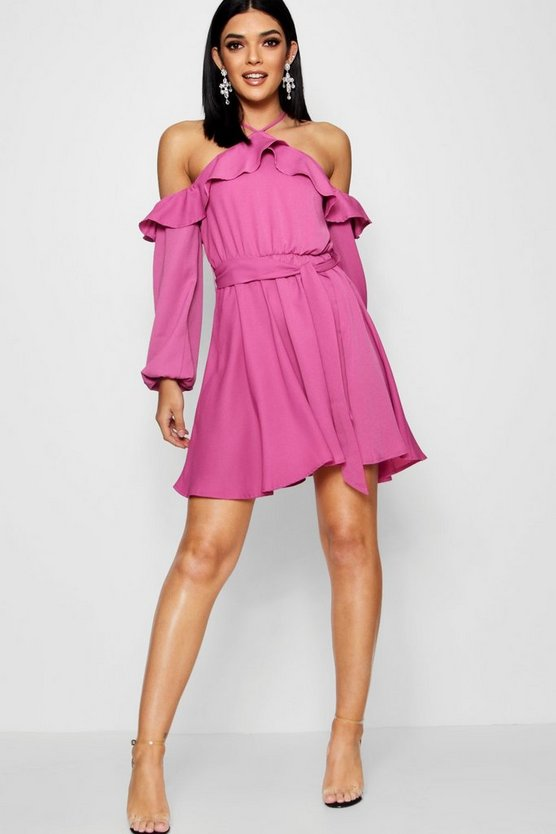 Ruby Wrap Front Ruffle Shoulder Skater Dress