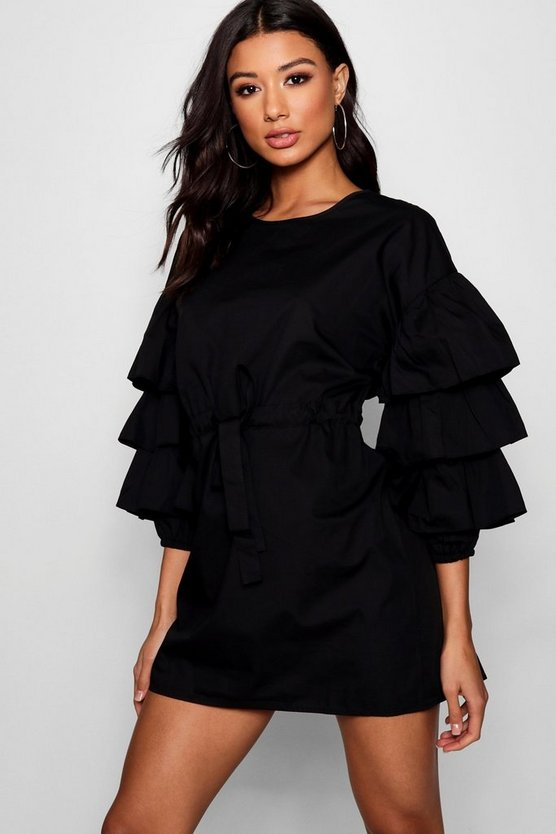 Bella Gathered Tie Waist Ruffle Sleeve Dress