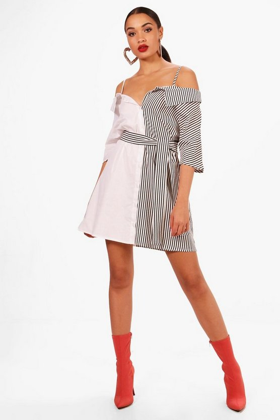 Fi Off the Shoulder Contrast Panel Shirt Dress