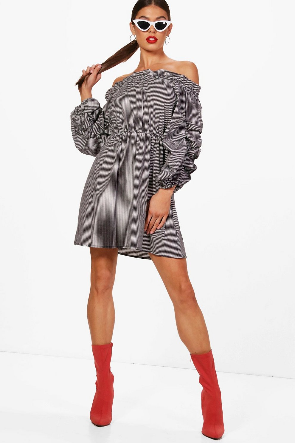 Boohoo Volume Sleeve Off the Shoulder Dress The Cheapest Free Shipping Reliable Shop Your Own VlN6J