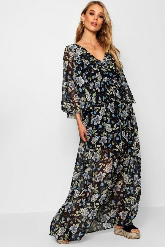 Tina Ruffle Front Angel Sleeve Maxi Dress
