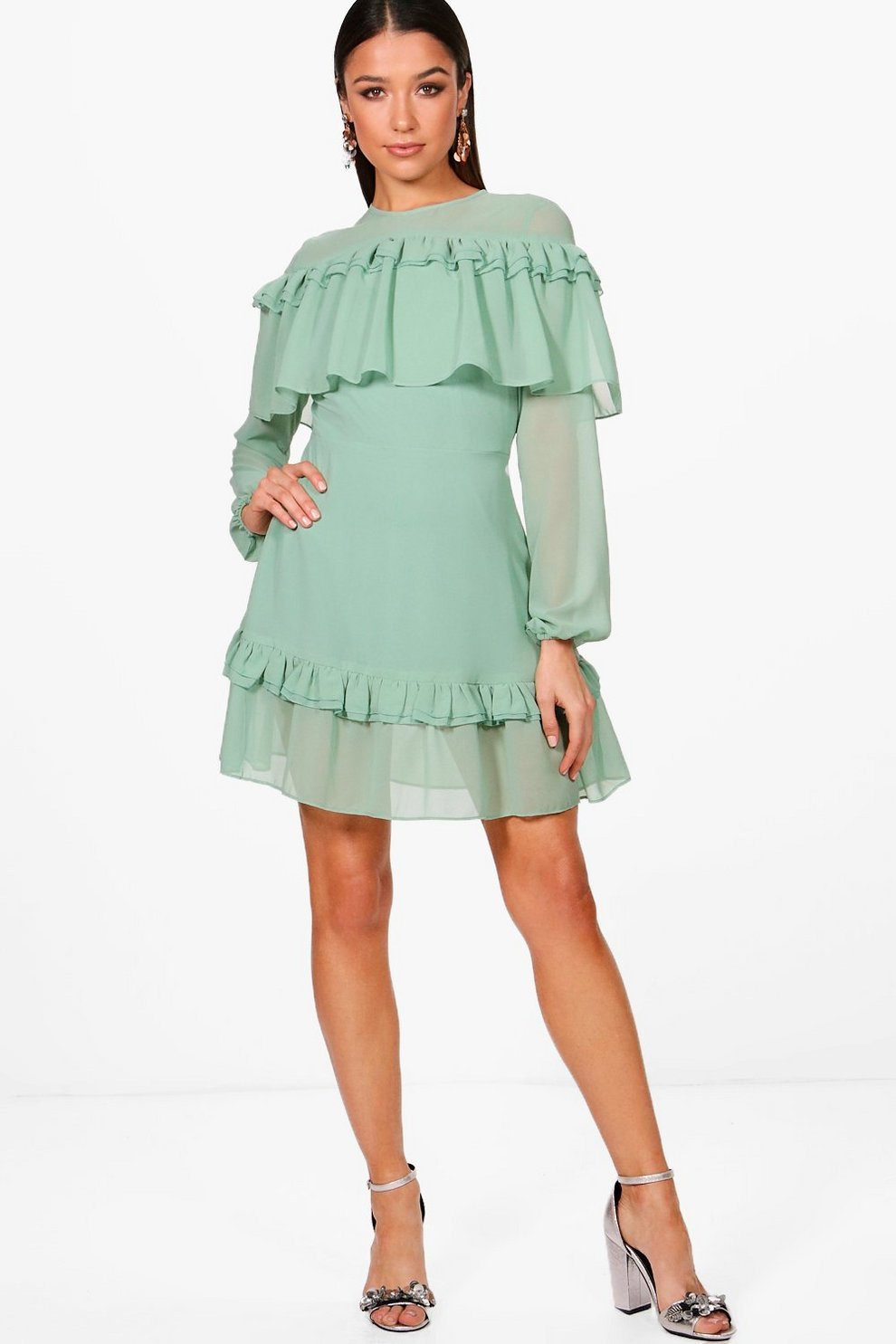 Boohoo Ruffle Shoulder and Hem Tea Dress High Quality For Sale Z6YkdSX