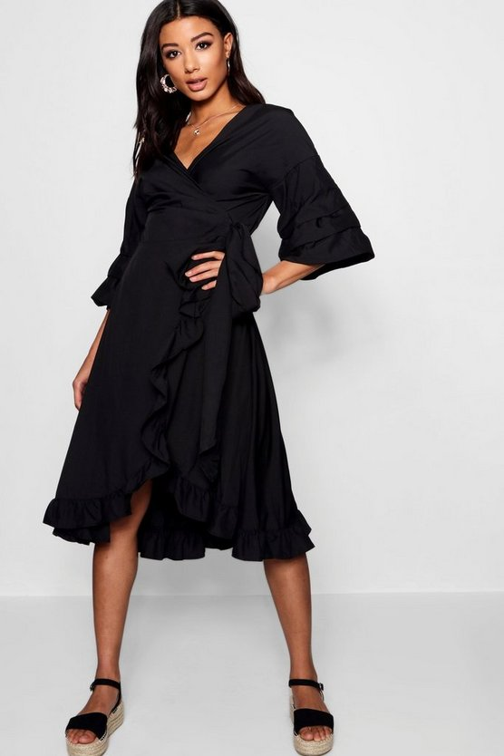 Rosie Ruched Sleeve  Wrap Midi Dress
