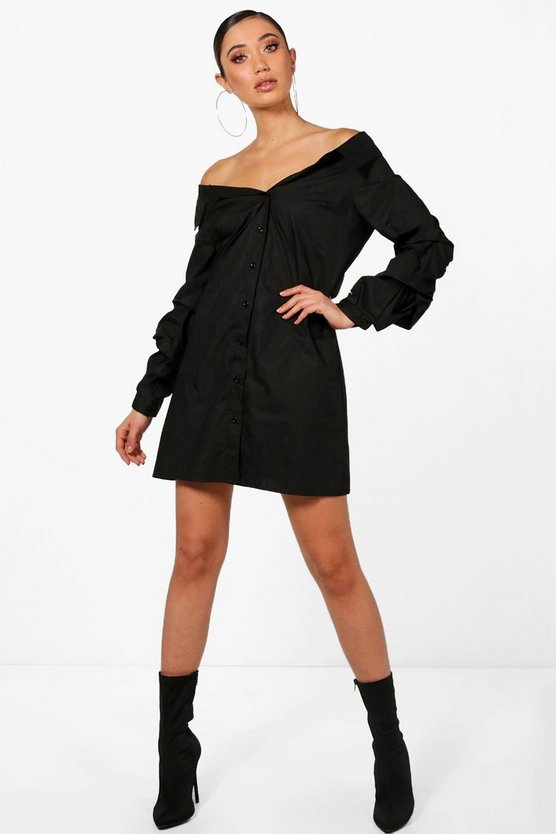 Off Shoulder Ruched Sleeve Shift Dress