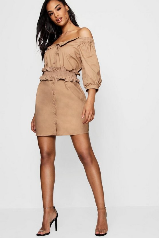 Off the Shoulder Shired Waist Shirt Dress