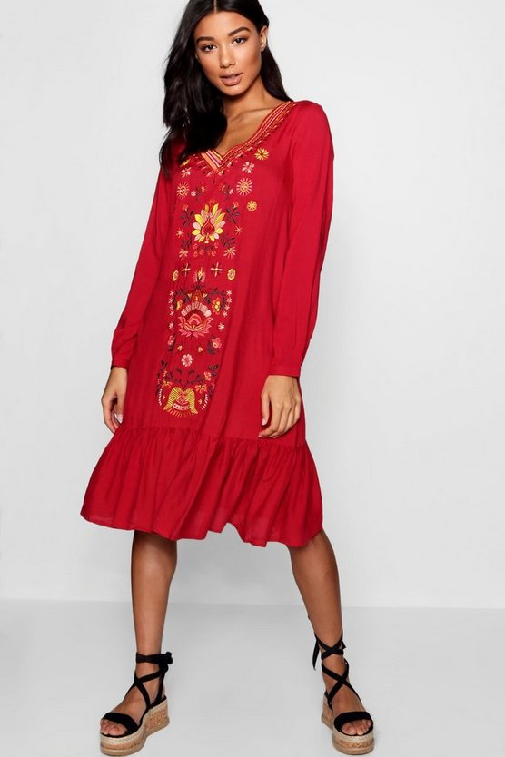 Embroidered Front Smock Dress