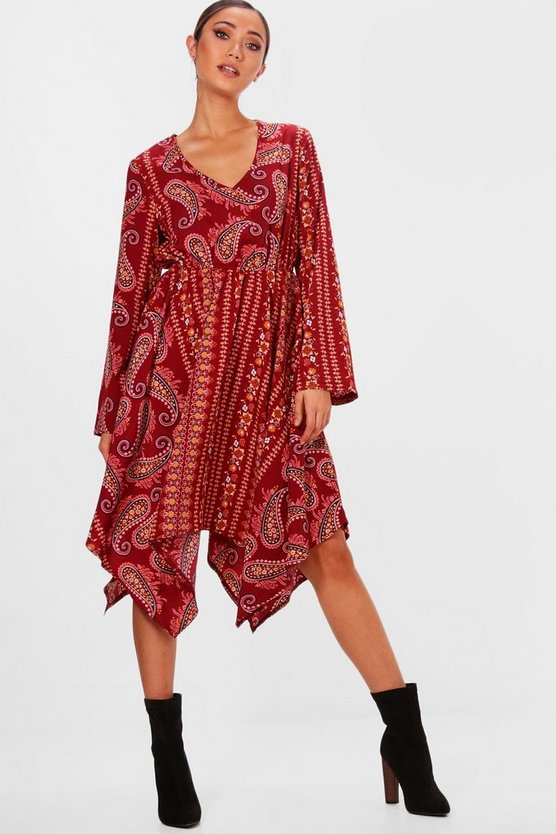 Alicia Hanky Hem Flute Sleeve Midi Dress