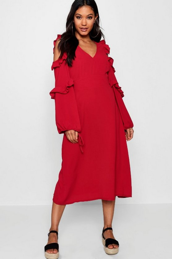 Rebecca Ruffle Detail Midi Dress