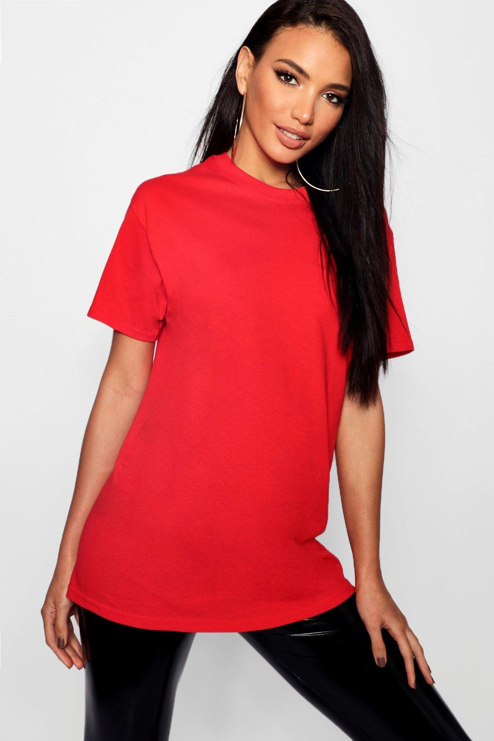 Womens Übergroßes Basic-T-Shirt - red - M, Red - Boohoo.com