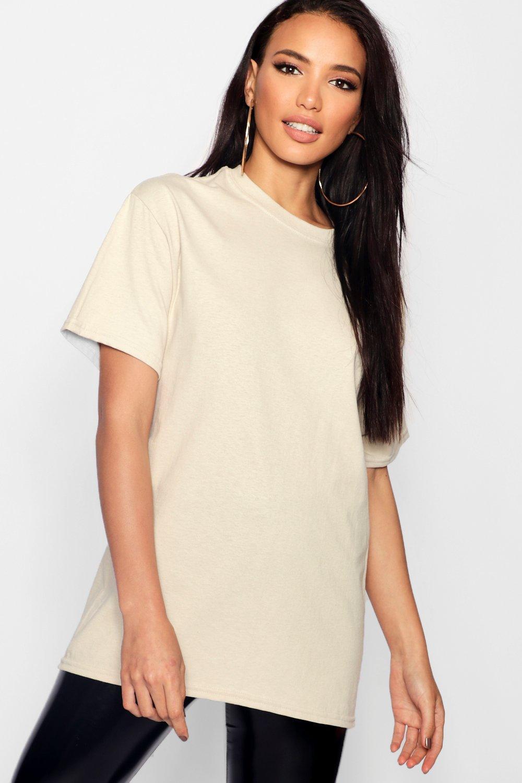 Womens Übergroßes Basic-T-Shirt - sand - S, Sand - Boohoo.com