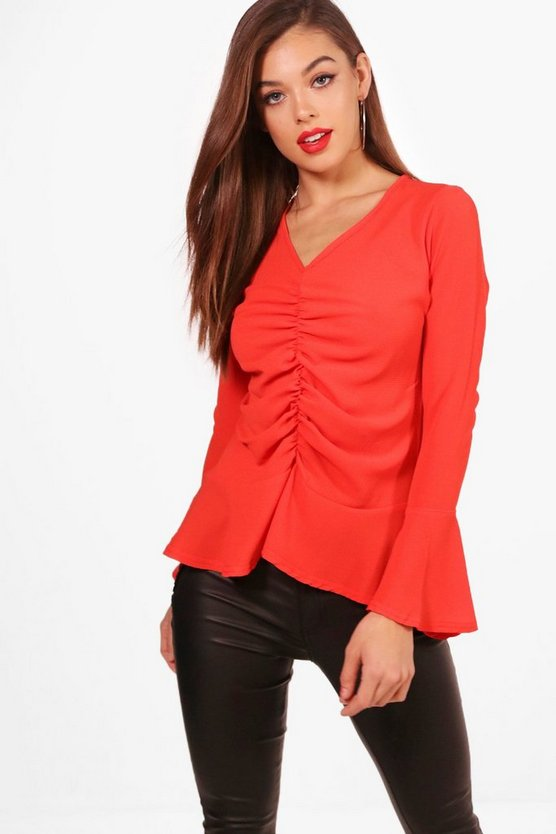 Hannah Ruched Front Peplum Top