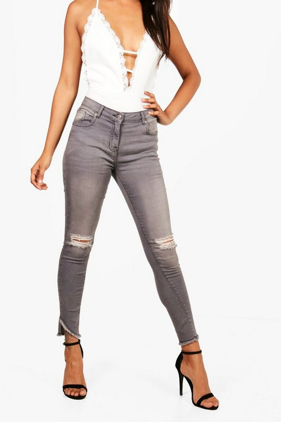 Bex Grey Distressed Fray Hem Jeans