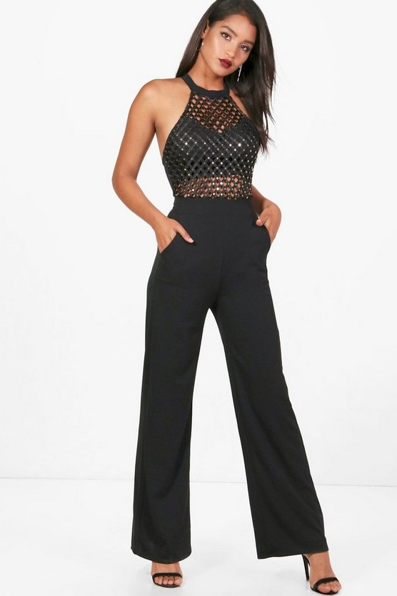 Terri Caged And Sequin Jumpsuit
