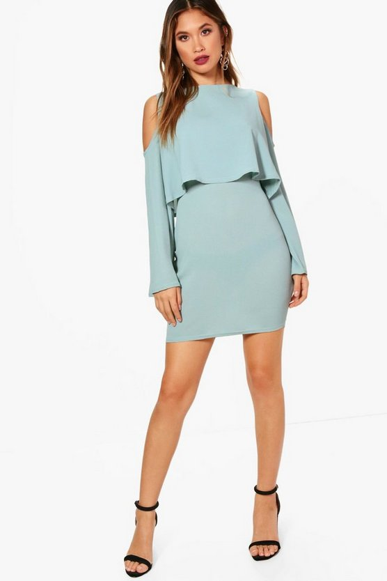Amy Cold Shoulder Double Layer Long Sleeve Dress