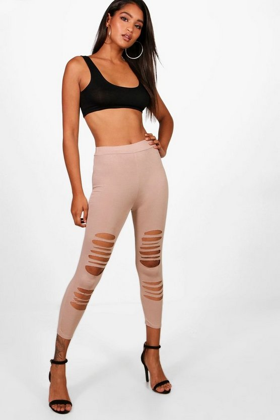 Cropped Distressed Detail Leggings
