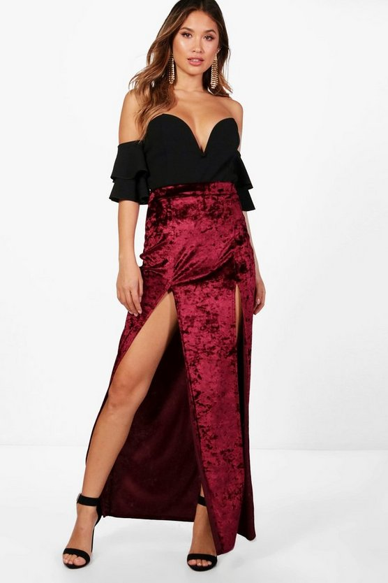Velvet Extreme Double Split Maxi Skirt