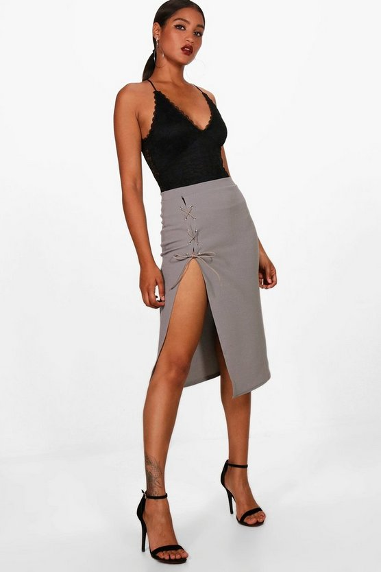 Libby Crepe Extreme Lace Up Slit Column Midi Skirt