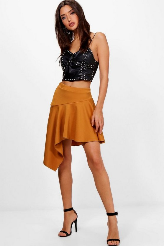 Sadie Crepe Ruffle Drop Hem Mini Skirt