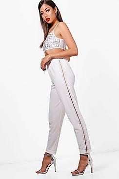 Kacy Metallic Side Stripe Crepe Jogger