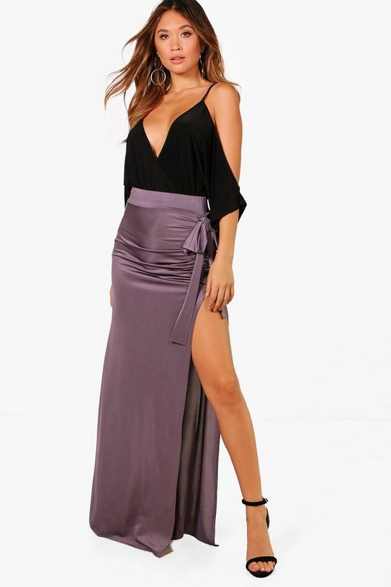 Riley Slinky Bow & Split Extreme Maxi Skirt