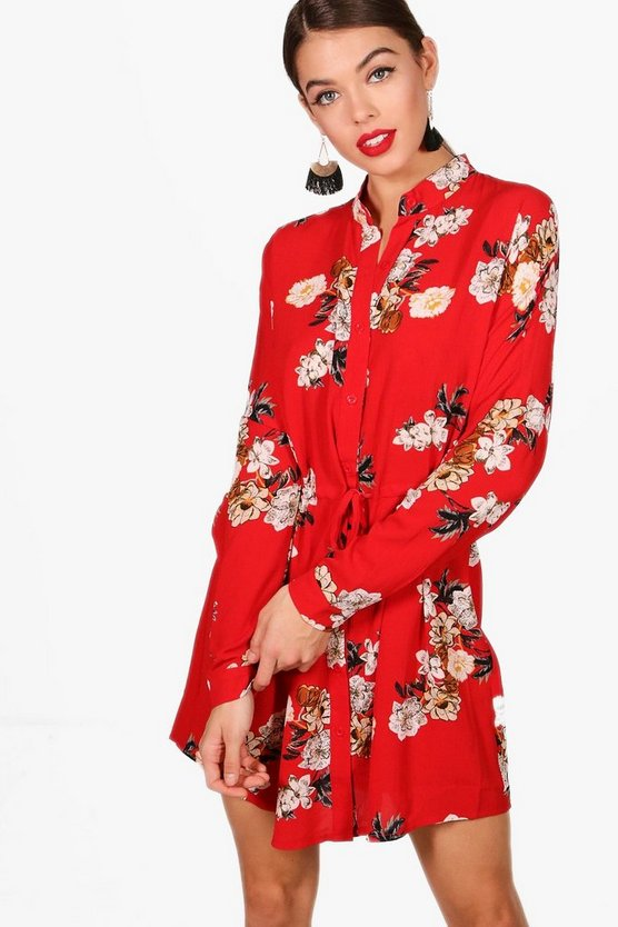 Becky Floral Tie Waist Woven Shirt Dress
