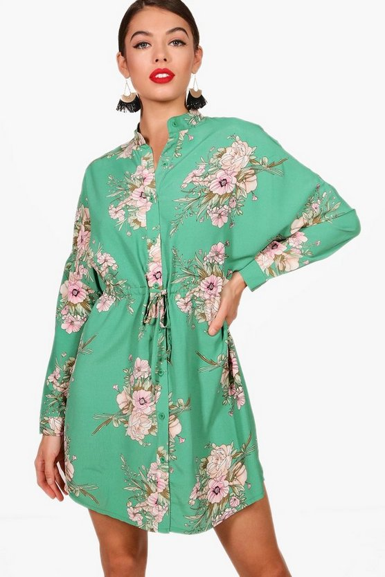 Pandora Floral Tie Waist Woven Shirt Dress