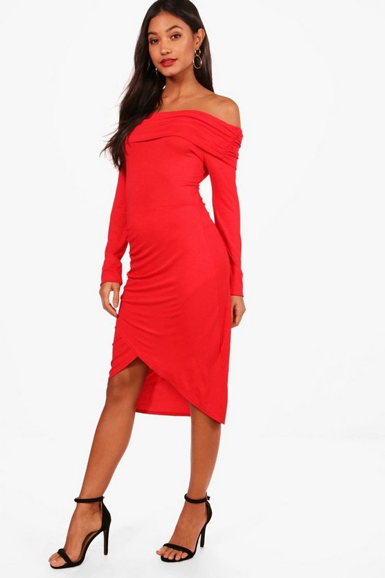 Eve Ruched Off The Shoulder Midi Dress