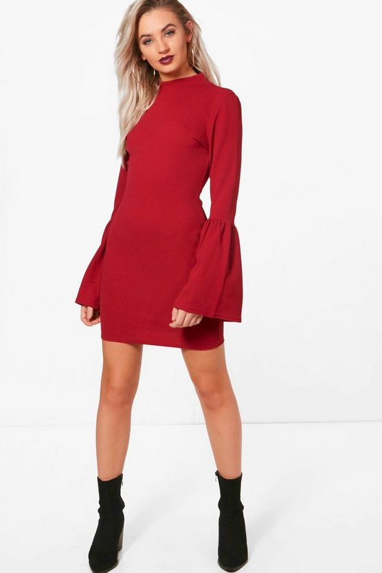 Pia High Neck Crepe Flare Sleeve Shift Dress