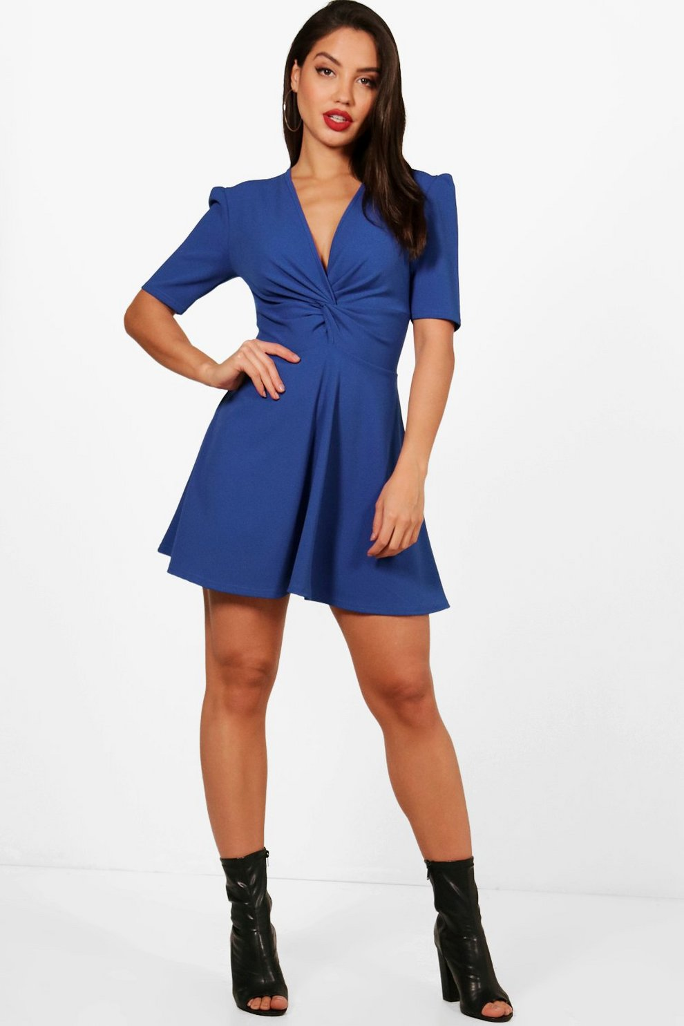 Sale Official Boohoo Flared Sleeve Knot Front Skater Dress Buy Cheap Comfortable New Sale Fashionable zAHFiA0N