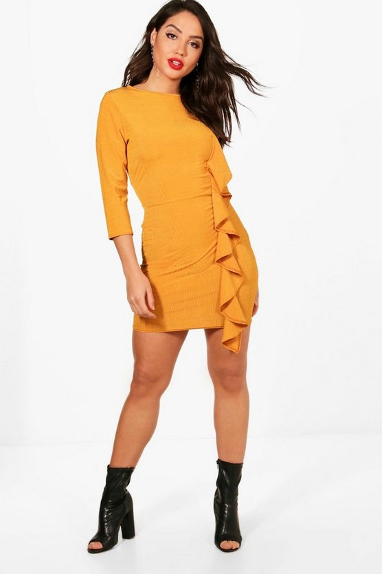 Side Ruffle Split Hem Bodycon Dress